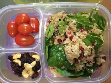 Quinoa, Spinach, Pomegranate & toasted seed salad with honey, lemon & vinegar & olive oil dressing