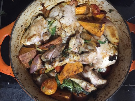 Chicken, veg and mozzarella bake